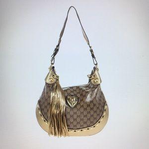 Authentic Beige Ebony Crystal GG Babouska Hobo Bag